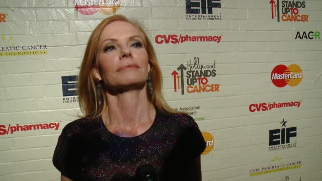 marg helgenberger on why it was important for her to support hollywood stands up to cancer and why she has chosen to get involved in the fight... - marg helgenberger stock videos & royalty-free footage