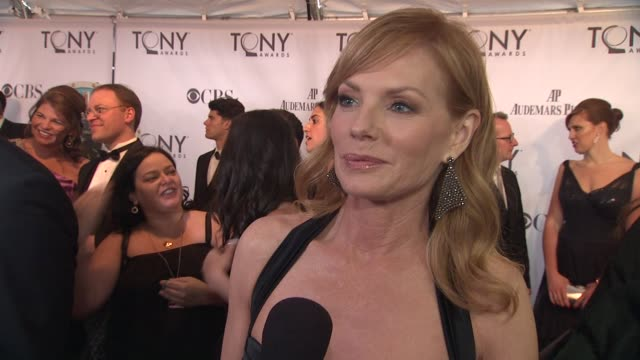marg helgenberger talks about what she's looking forward to in the show and her most memorable broadway moment at the 65th annual tony awards red... - broadway show stock videos and b-roll footage