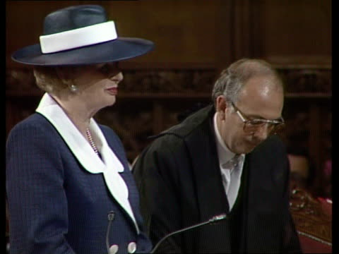 margaet thatcher becomes freeman of city of london england city of london guildhall tms margaret thatcher mp stands as lord mayor sir christopher... - lord mayor of london city of london stock videos & royalty-free footage