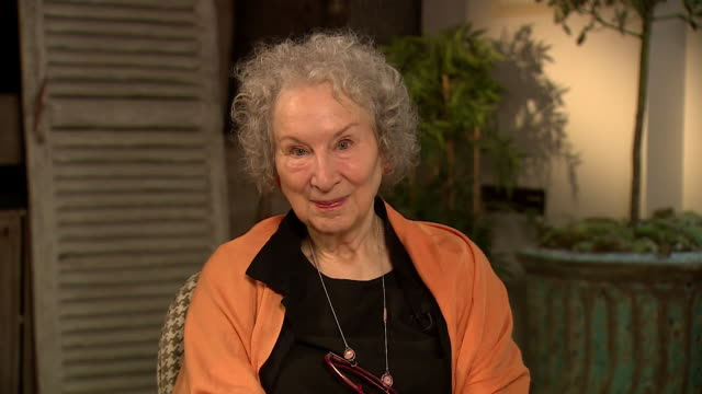 margaret atwood author during interview to promote new book the testaments the sequel to the handmaid's tale - headshot stock videos & royalty-free footage