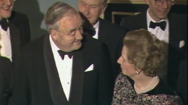 margaret thatcher and william whitelaw talk while being photographed - 1984 stock videos & royalty-free footage