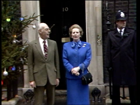 margaret thatcher becomes longest serving pm this century itn london 10 downing st margaret thatcher standing next to husband denis outside no 10 for... - margaret thatcher stock videos and b-roll footage
