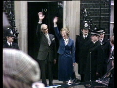 Margaret Thatcher becomes longest serving PM this century ITN LIB 451979 MMS Thatcher standing outside No 10 waving after genelec victory turn to BV...