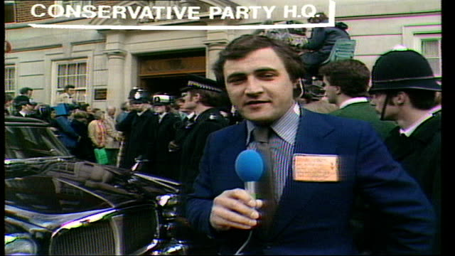Margaret Thatcher becomes PM ENGLAND London Smith Square Conservative Party HQ John Suchet awaits the arrival of Margaret Thatcher