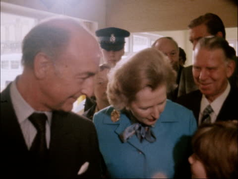 Margaret Thatcher booed as she opens playground in East London ENGLAND London East End Spitalfields Clement Attlee Adventure Playground EXT BV...