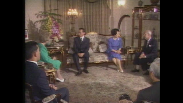 margaret thatcher chats with king bhumibol during her official visit to thailand - king of thailand stock videos and b-roll footage