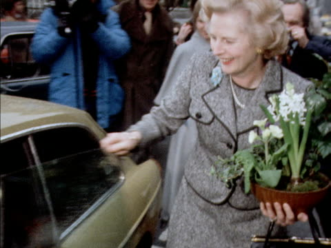 margaret thatcher dashes to a waiting car after winning the tory leadership election 1975 - 1975 stock videos & royalty-free footage