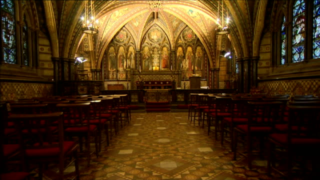 body moved to crypt chapel of st mary undercroft in westminster england london westminster chapel of st mary undercroft int various shots chapel of... - crypt stock videos and b-roll footage