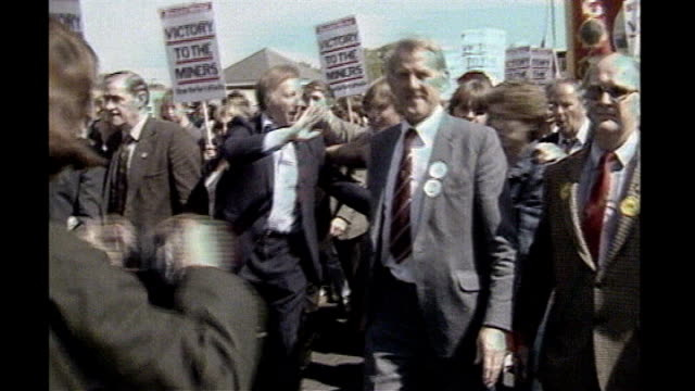 margaret thatcher death: guest list for funeral published; 1984 arthur scargill along with others at num march duiring 1984 miners' strike - gast stock-videos und b-roll-filmmaterial