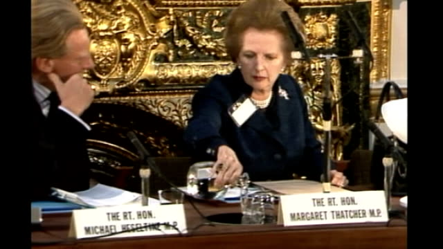 Michael Heseltine interview AS120983018 / London Lancaster House INT Heseltine and Thatcher sitting at Science and Technology Seminar as Thatcher...