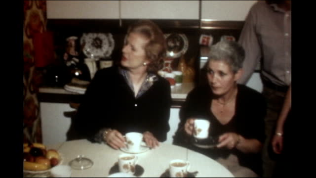 michael heseltine interview vs110880004 / essex int thatcher drinking tea and chatting thatcher shakes hands with pattersons and gives them deeds to... - michael heseltine stock videos and b-roll footage