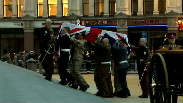 military rehearsal for baroness thatcher's funeral takes place various shots coffin covered in union flag carried up steps by military in procession... - union army stock videos & royalty-free footage