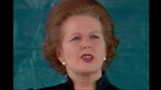margaret thatcher death: obituary; 1982 falkland islands: british sailors stand raising their caps in cheer - falklands war victory 3.7.1982 england:... - cheltenham stock videos & royalty-free footage