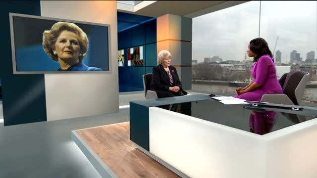 margaret thatcher death: relationship with trades unions; england: london: gir: int baroness dean live studio interview sot - margaret thatcher very... - 男爵夫人点の映像素材/bロール