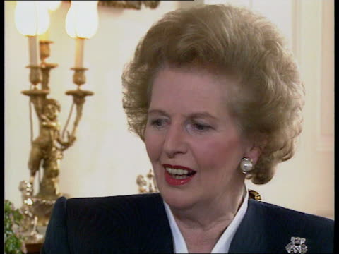 pm margaret thatcher end of term interview england london sw1 margaret thatcher replies to questions on security cutbacks/progress against beating... - downsizing stock videos & royalty-free footage