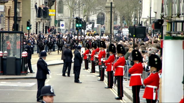funeral procession fleet street more of the same / baroness thatcher coffin and funeral cortege along fleet street and ludgate hill on journey to st... - funeral procession stock videos & royalty-free footage