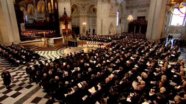 St Paul's Cathedral arrivals and start of service John Major sits chatting with David Cameron and Samantha Cameron/ Cherie Blair sitting chatting to...