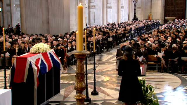 St Paul's Cathedral funeral service Amanda Thatcher gives reading SOT CUTAWAYS including Sir Mark Thatcher Sarah Thatcher and Michael Thatcher...