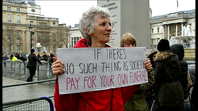 margaret thatcher funeral: trafalgar square protesters and supporters; vox pops man who is attending funeral to show his respects to former margaret... - man made stock videos & royalty-free footage