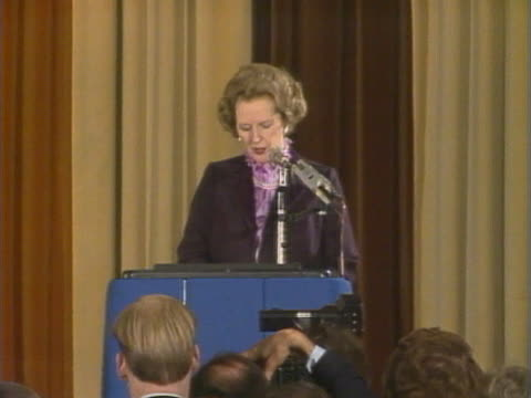 margaret thatcher gives her reaction to nacods decision to join the miners strike during a speech - miner stock videos and b-roll footage