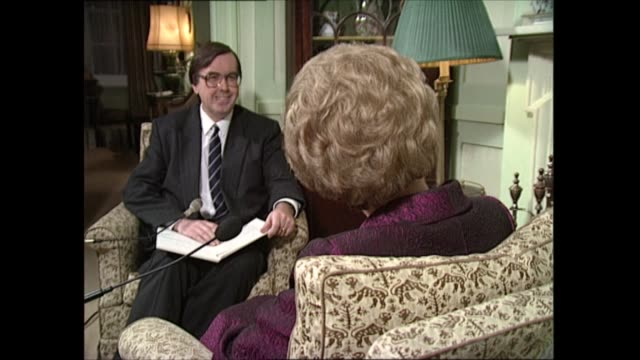 margaret thatcher interview cutaways: part one; england: london: int various of itv news political editor michael brunson, news at ten editor sue... - itv news at one点の映像素材/bロール