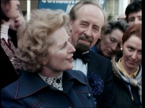 stockvideo's en b-roll-footage met ext margaret thatcher mp chatting with supporters margaret thatcher mp interview sof re byelection results liberals joining forces with socialism... - margaret thatcher