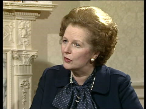 london interview sof not yet thinking about next general election/ ideas for the future new technology new information technology and electronics/... - margaret thatcher stock videos & royalty-free footage