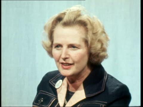 london live studio margaret thatcher interview sot - 1975 stock videos & royalty-free footage