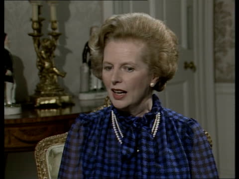 margaret thatcher interview following landslide victory; england: london: downing street: int margaret thatcher mp interview sot including: on... - margaret thatcher stock videos & royalty-free footage