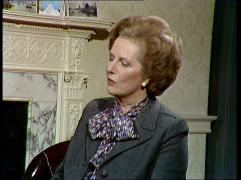 Margaret Thatcher interview on Polish crisis NAO London Downing Street No10 interview SOF 'I don't think a lot more thank you' VIDEO OB Archive Tape...