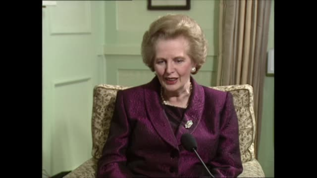 part one interview clip 1 of 5 england london int 2 shot margaret thatcher mp and itn political editor michael brunson as they prepare for interview... - gossip stock videos & royalty-free footage