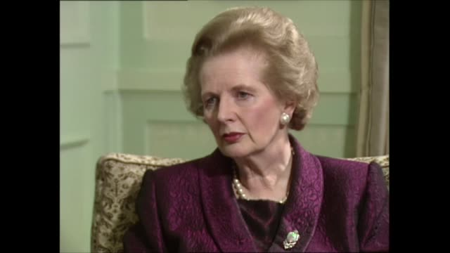 margaret thatcher interview: part one; interview clip 2 of 5 england: london: int margaret thatcher mp sat with itn political editor michael brunson... - physical activity stock videos & royalty-free footage