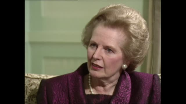 margaret thatcher interview: part one; interview clip 3 of 5 england: london: int margaret thatcher mp sat with itn political editor michael brunson... - financial bill stock videos & royalty-free footage