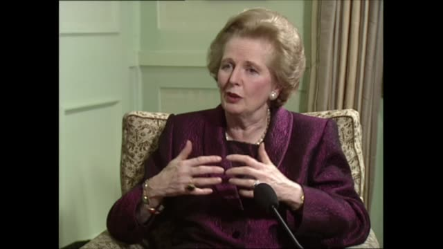 margaret thatcher interview: part two; part two of interview england: london: int margaret thatcher mp sat with itn political editor michael brunson... - physical activity stock videos & royalty-free footage