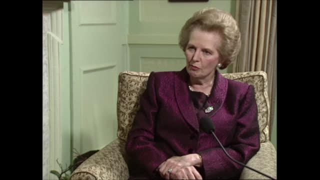 part two part two of interview england london int margaret thatcher mp sat with itn political editor michael brunson for interview sot q mps today... - money politics stock videos & royalty-free footage