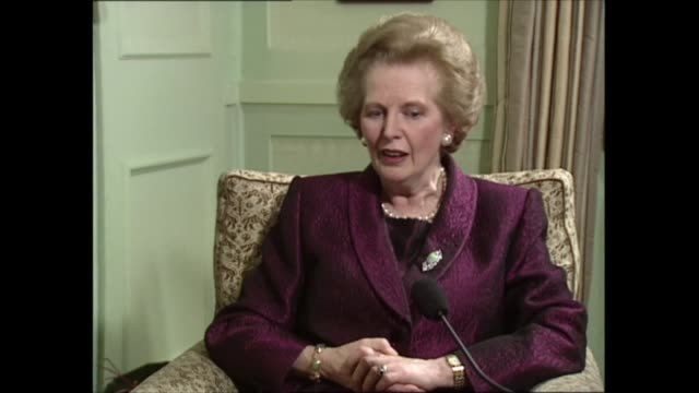 part two part two of interview england london int margaret thatcher mp sat with itn political editor michael brunson for interview sot a i speak i... - {{relatedsearchurl(carousel.phrase)}}点の映像素材/bロール