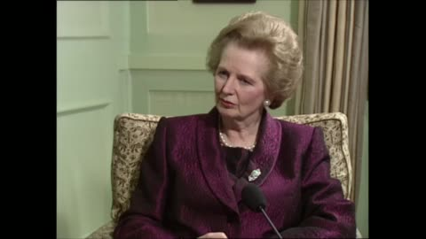 margaret thatcher interview: part two; part two of interview england: london: int margaret thatcher mp sat with itn political editor michael brunson... - human made stock videos & royalty-free footage