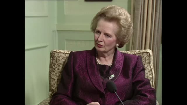 margaret thatcher interview: part two; part two of interview england: london: int margaret thatcher mp sat with itn political editor michael brunson... - man made stock videos & royalty-free footage