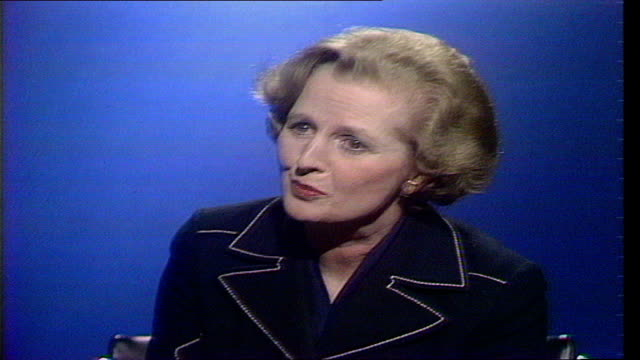 margaret thatcher interview uk cs thatcher interview sof well i hope they're notback us in doing it - margaret thatcher stock videos & royalty-free footage