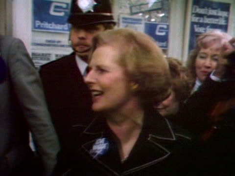 margaret thatcher leaves a campaign office during her tour of the uk for the 1979 general election. - margaret thatcher stock videos & royalty-free footage