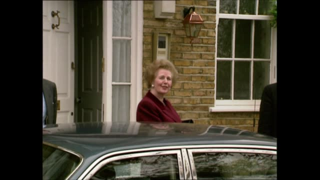 margaret thatcher leaves downing street / john major moves in:; england: south london: dulwich: thatcher car arriving, margaret thatcher mp from car... - trivia stock videos & royalty-free footage
