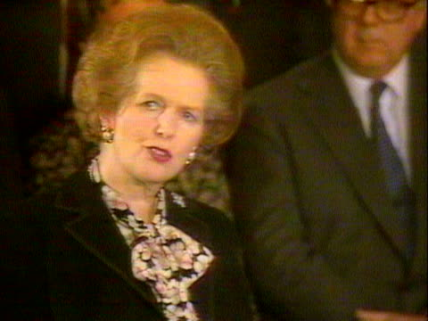 Margaret Thatcher makes a speech following the signing of the SinoBritish Declaration agreeing the handover of Hong Kong to China 1984