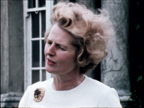 margaret thatcher minister for education explains her policy on school buildings and removal of free school milk; 25 jun 71 - margaret thatcher stock videos & royalty-free footage
