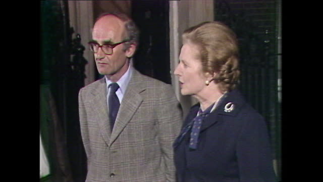 margaret thatcher prime minister, and john nott, defence secretary, come out of 10 downing street to speak to press about the retaking of south... - atlantic islands stock videos & royalty-free footage