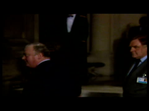 margaret thatcher resignation shows exterior shot of thatcher leaving paris summit to confirm she will stand in second ballot exterior shot of... - margaret thatcher stock videos and b-roll footage