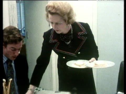 margaret thatcher serves breakfast for children mark and carol at home london; 1973 - margaret thatcher stock videos & royalty-free footage