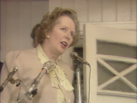 margaret thatcher speaks out against the miners who are attempting mob rule during the miners strike - minatore video stock e b–roll