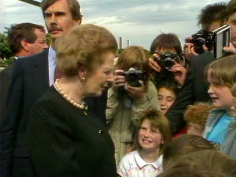 Margaret Thatcher speaks to a group of children about the victims of the Piper Alpha disaster