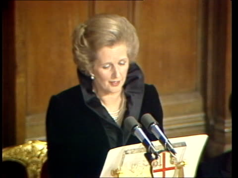 Margaret Thatcher speech at Lord Mayor's banquet ENGLAND London Guildhall INT Margaret Thatcher MP speech SOT On the economy
