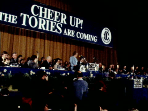 "margaret thatcher speech at young conservatives conference in bournemouth; england: dorset: bournemouth: int gv margaret thatcher on dais ""cheer up... - margaret thatcher stock videos & royalty-free footage"